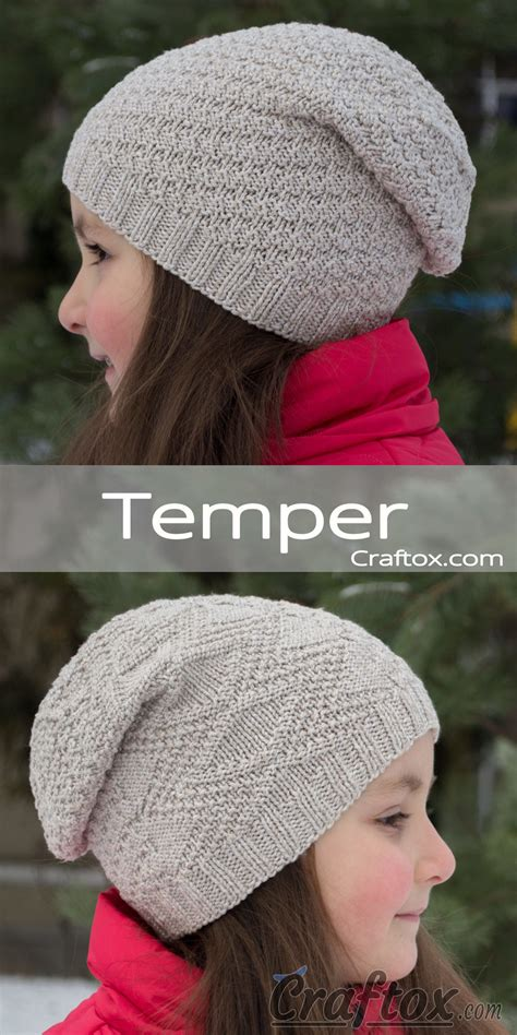 slouchy beanie knitting pattern for beginners child s slouchy beanie hat quot temper quot free knitting