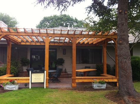 pergola with bench cedar pergola with built in bench seating outdoor