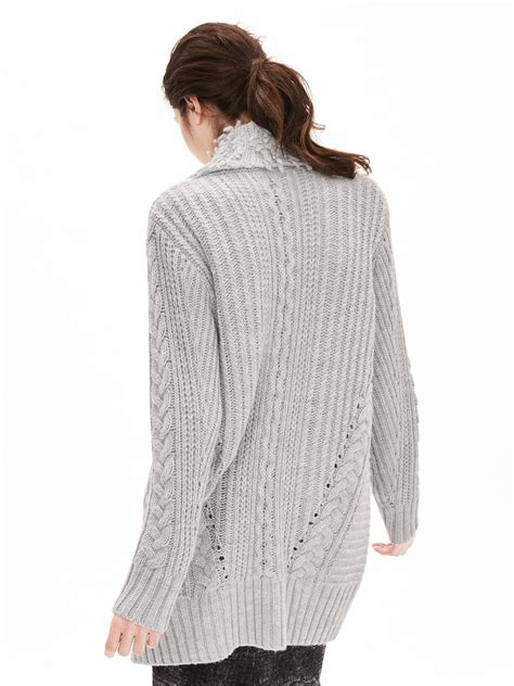 knit sweater coat banana republic fringe collar cable knit sweater coat in