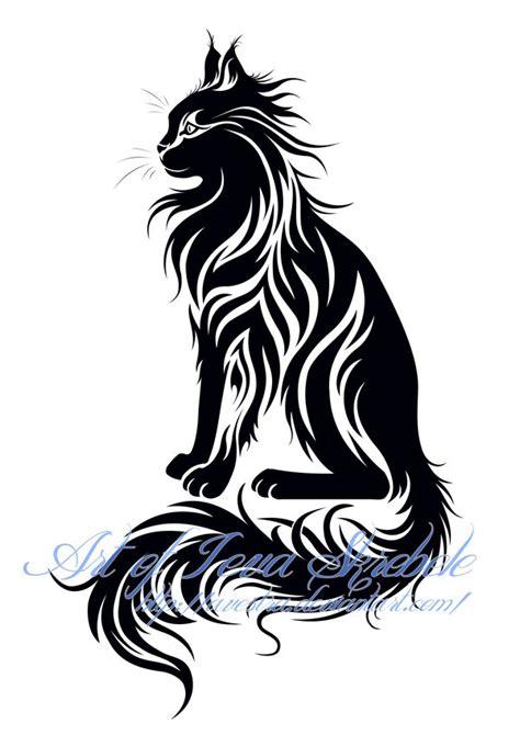 cat designs maine coon sit cat tribal tatoo tatoo iii cat