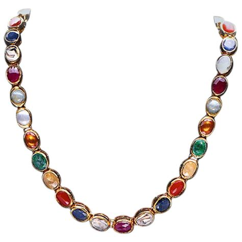 jewelry and stones gold necklace with navaratna stones at 1stdibs