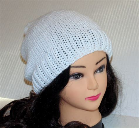white knitted beanie hat white knitted slouchy beanie hat for