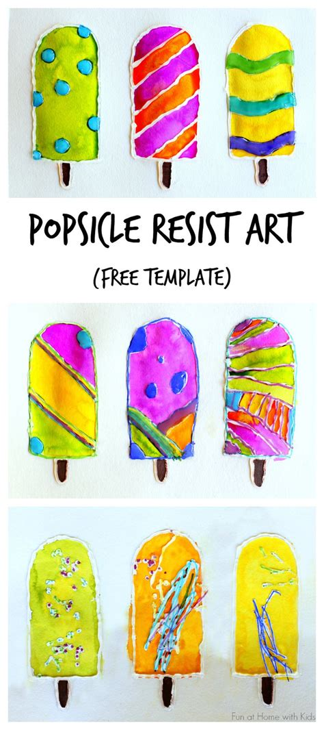 ac kid crafts popsicle resist with free popsicle template 미술 레슨
