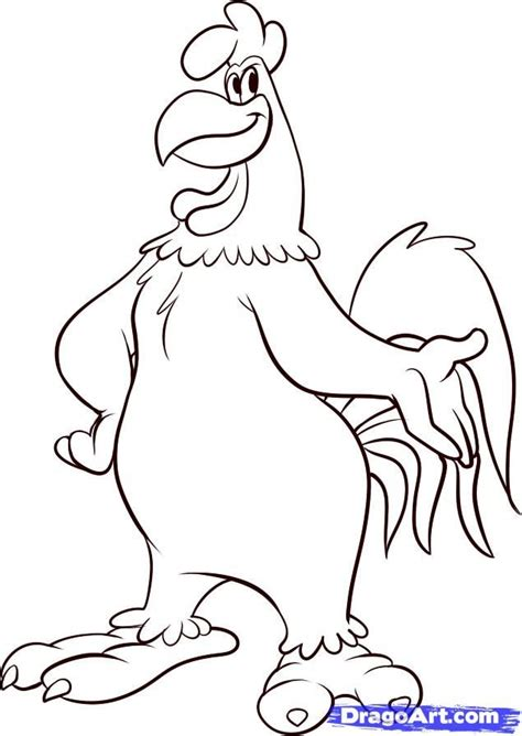 how to color how to draw foghorn leghorn step by step