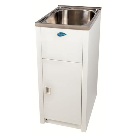 laundry sink with cabinet everhard 30l nugleam mini laundry trough and cabinet bunnings warehouse