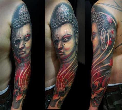 tatuaje hombro realista buda por javier tattoo