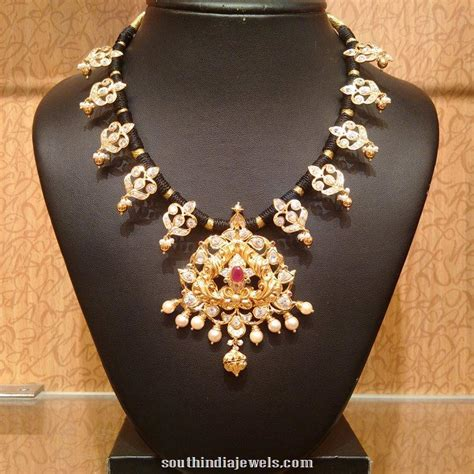 black necklace designs india gold black threaded necklace black thread