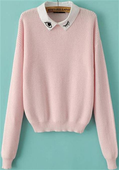 pink knit sweater pink sleeve eye embroidered knit sweater shein