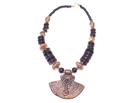 beaded tribal necklace tribal beaded necklace wooden and metal necklace craft
