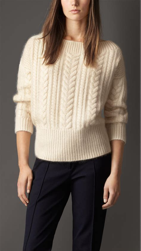cable knit wool sweater burberry cable knit wool mohair blend sweater in