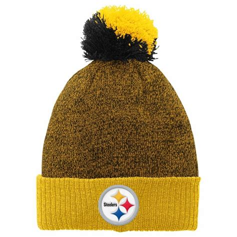 steelers knit hat pittsburgh steelers youth basic cuffed knit hat w pom