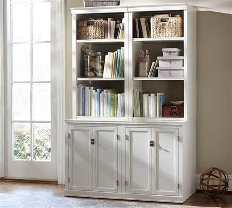 antique white bookshelves logan bookcase with doors antique white pottery barn