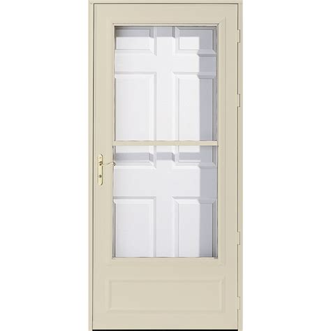 pella retractable screen door shop pella helena poplar white mid view wood