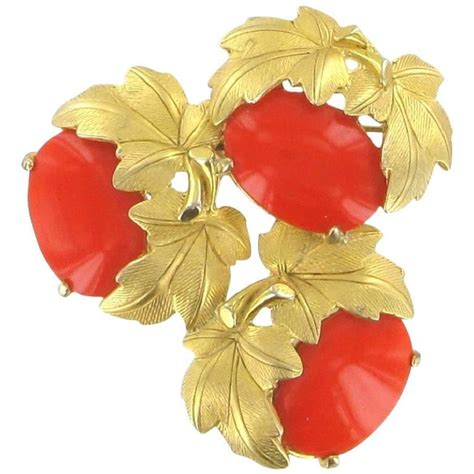 coral glass vintage schiaparelli brooch in coral glass paste for sale