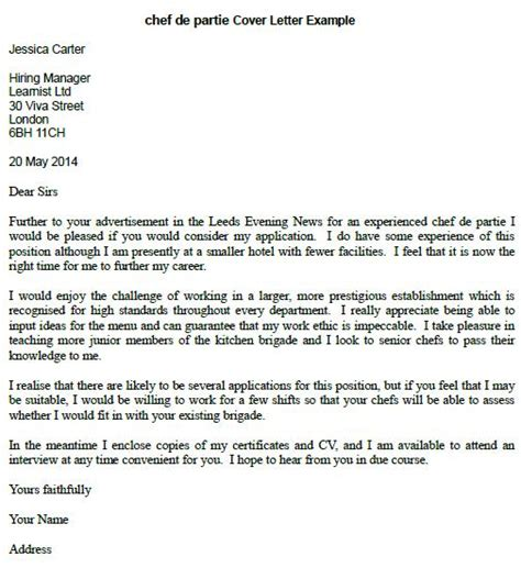 chef de partie cover letter example learnist org