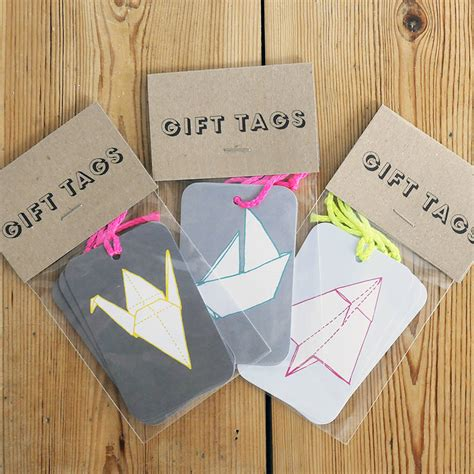 origami gift tag set of three origami gift tags by sparrow wolf