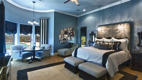 blue bedroom interior design startling metal family photo collage frame decorating