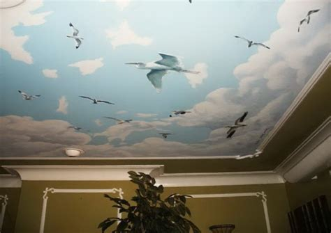 painting clouds on ceiling clouds and birds ceiling mural