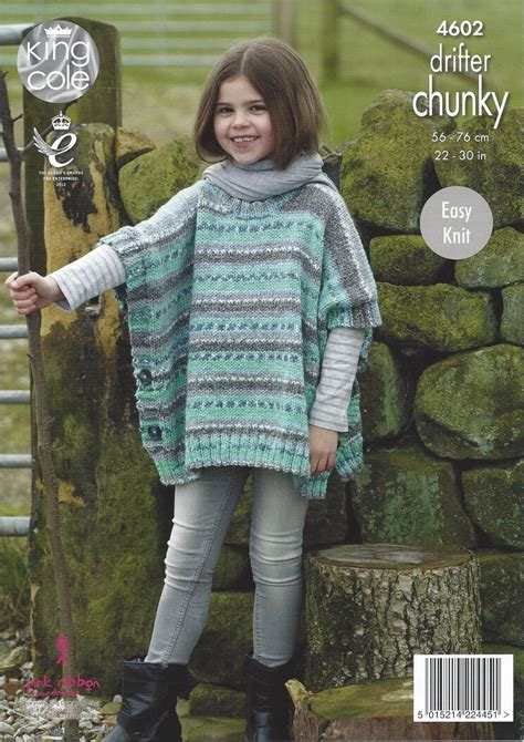 chunky poncho knitting pattern king cole drifter chunky 4602 poncho knitting pattern