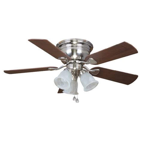 nickel ceiling fan with light shop harbor centerville 42 in brushed nickel flush