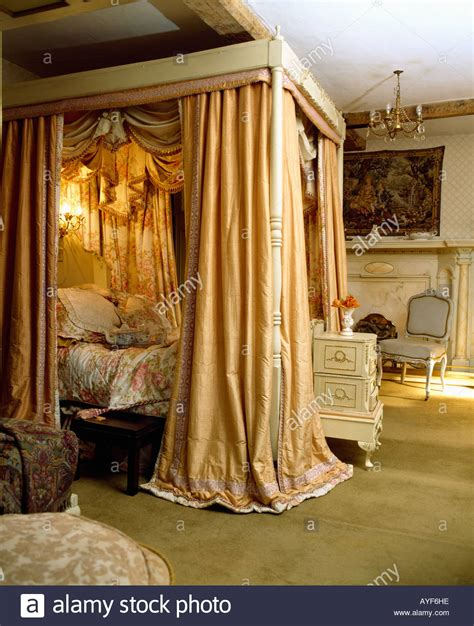four poster bed with curtains four poster bed with silk curtains and integral lighting