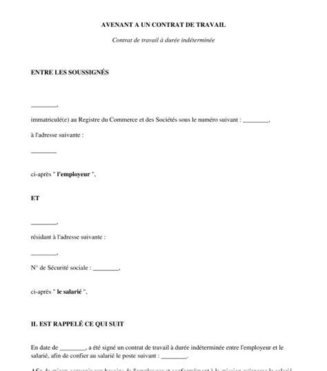 Modification Du Contrat De Travail En by Modele Avenant Contrat De Travail Retrogradation