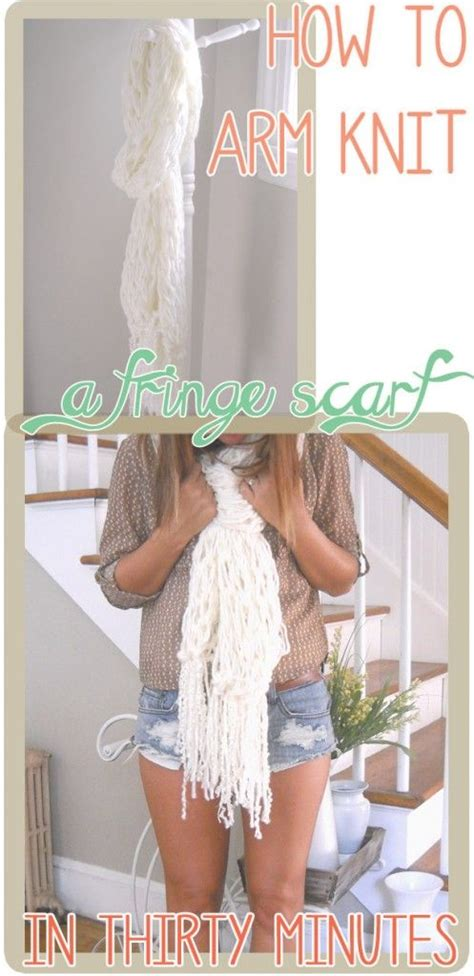 how to arm knit scarf fringes and diy and crafts on