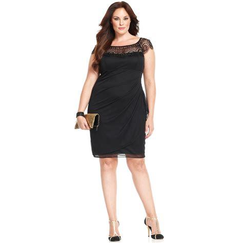 plus size beaded dress xscape xscape plus size dress capsleeve beaded in black lyst