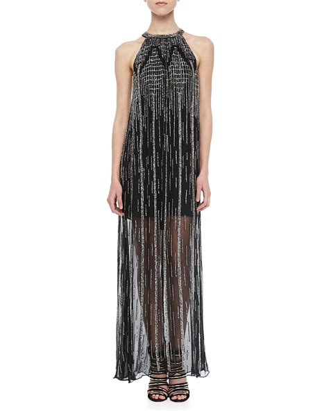 beaded halter maxi dress shane beaded halter maxi dress in black lyst