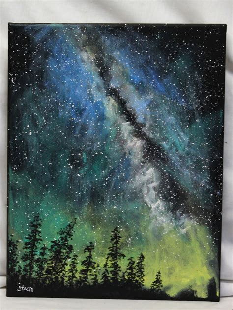 acrylic paint sky way painting on canvas 11 quot x 14 quot stretched canvas