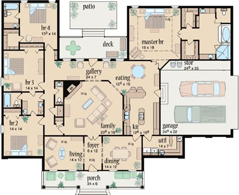 4 bedroom 3 bath house plans country style house plans 3042 square foot home 1 story 4 bedroom and 3 bath 2 garage