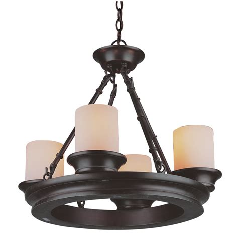 kitchen lighting lowes shop allen roth 4 light rubbed bronze chandelier at