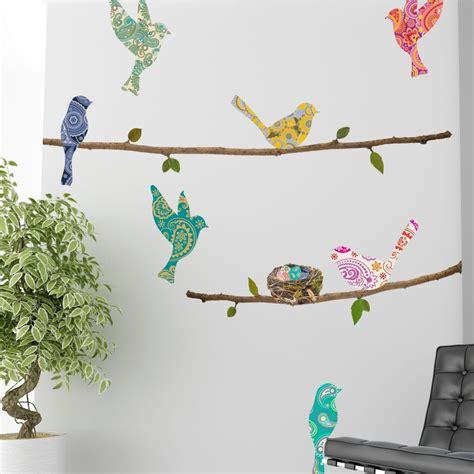 wall decal paisley birds branches wallsorts