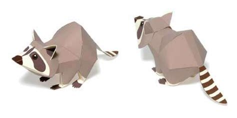 origami raccoon 8 best images of 3d printable paper animals crafts free