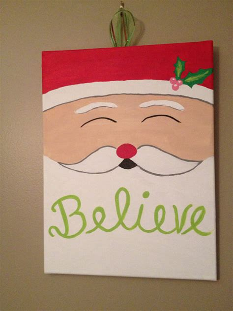 canvas crafts for believe santa canvas on etsy 15 00 crafts