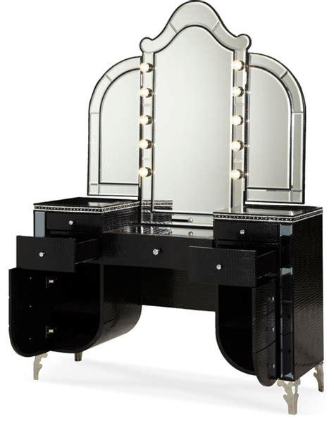 vanity bedroom furniture swank upholstered vanity and mirror black