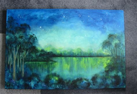 acrylic paint and water original acrylic painting sky water glowing