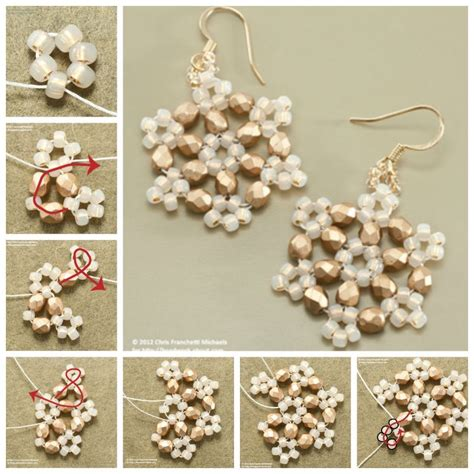 how to make beaded jewelry earrings how to make beaded snowflake earrings pictures photos