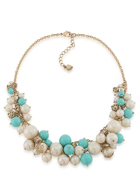bead cluster necklace carolee pearl bead cluster necklace in blue lyst