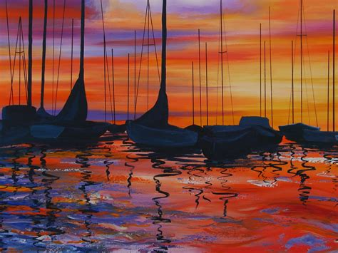 acrylic painting a harbor sunset acrylic painting earth spirit and glass
