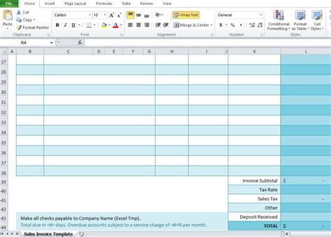 free sales invoice template for excel excel tmp
