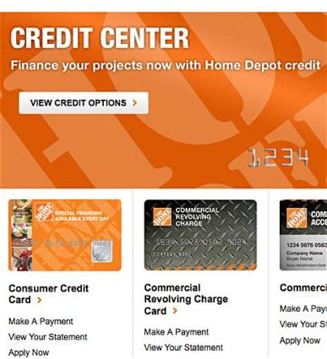 make home depot credit card payment the home depot credit card options