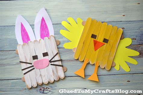 Popsicle Stick Easter Friends Kid Craft