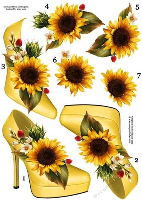 decoupage shoebox stunning shoe sunflower decoupage sheet craftsuprint
