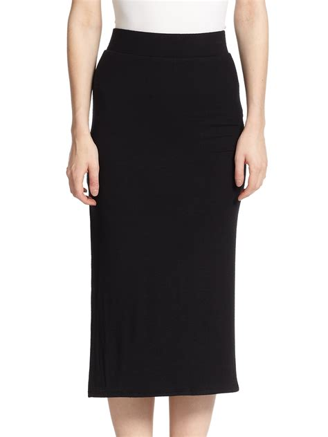 knit midi skirt atm side slit knit midi skirt in black lyst