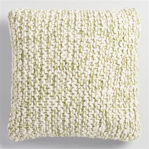 Green And Ivory Chunky Knit Throw Pillow World Market
