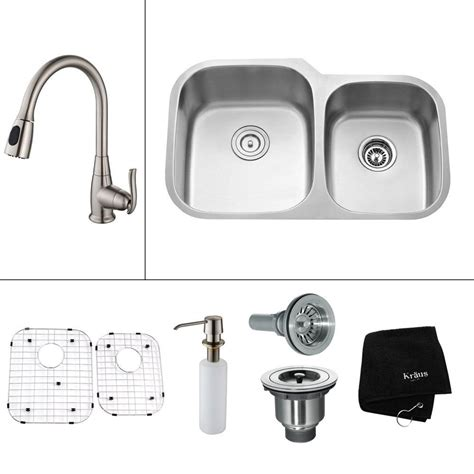 all in one kitchen sinks kraus all in one undermount stainless steel 32 in