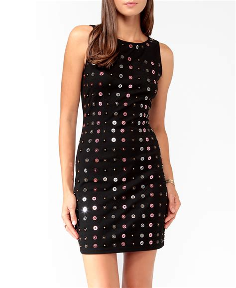 beaded tank dress forever 21 sequined beaded tank dress in pink black pink