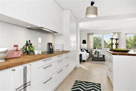 cuisine blanche et bois deco appartement cuisine