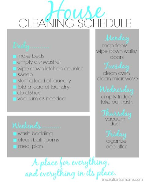 cleaning inspiration house cleaning schedule inspiration for